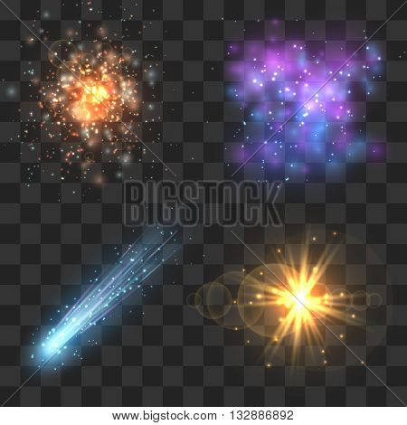 Space cosmos objects, comet, meteor, stars explosion on transparence checkered background. Universe explosion or fly star, meteor light and asteroid in universe. Vector illustration