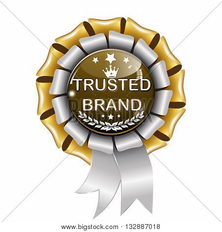 Trusted Brand elegant blue metallic award ribbon