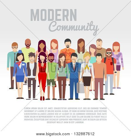 Business or politics community, society members, team vector flat concept with group of men and women. Social people group and population people character illustration