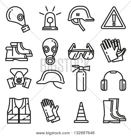 Safety work protection elements vector line thin icons set. Object for protection linear style. Professional protection mask respirator and clothing protection illustration