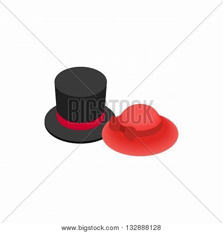 Top hat with red ribbon and red female hat icon in isometric 3d style on a white background