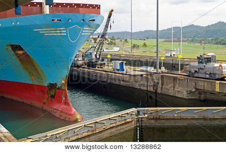Container Ship in Panama Canal - Gatun Locks