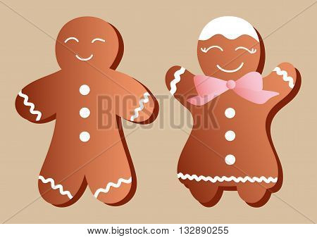 Drawing of a set of a two gingerbreads in the form of manikin - boys and girls