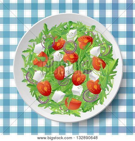 Vegetable salad with fresh tasty arugula or rocket rucola tomatoes feta cheese red onion and oregano on white plate on blue tablecloth .Top view close-up vector illustration.