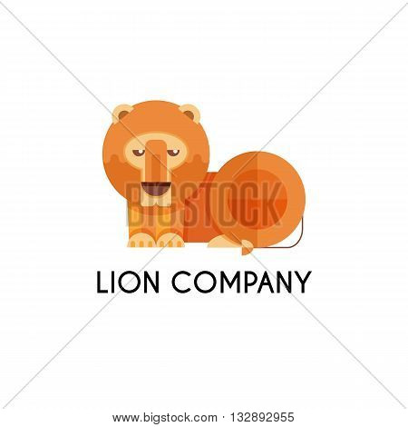 Lion made in unique geometrical flat style. Flat design template animal logo. Isolated icons for your design.