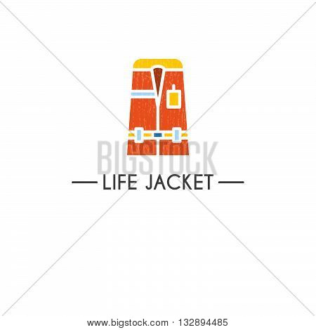 Flat style logotype template with life jacket emblems. Isolated on background. Logo for your business. Isolated on background.
