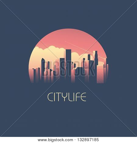 Modern cityscape with skyscrapers in sunrise or sunet vector illustration. Skyline background as business corporate symbol. Eps10 vector illustration.