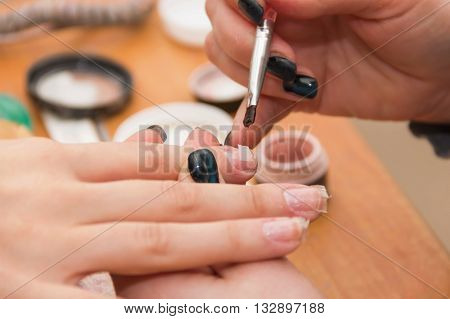build artificial nails manicures artificial nails correction the industry of beauty and nail care beauty salons soft focus