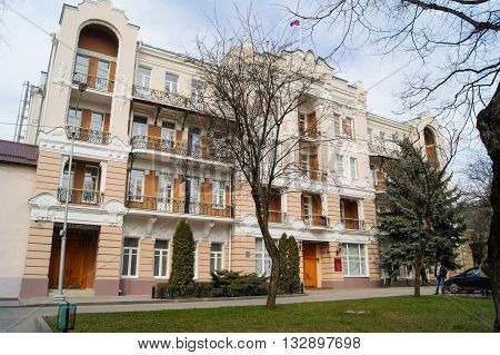 Kislovodsk, Russia - 1 March, House Kislovodsk government, 1 March, 2016. Resort zone Mineral Waters, Krasnodar region.