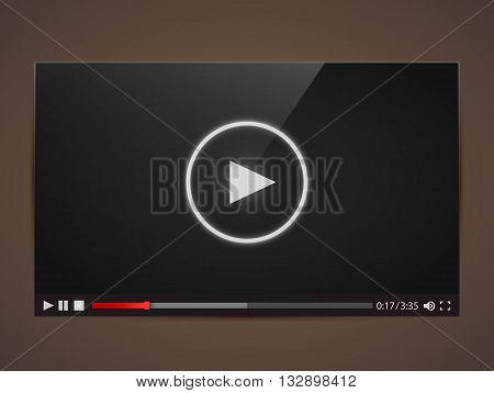 Modern video player for web. Vector illustration
