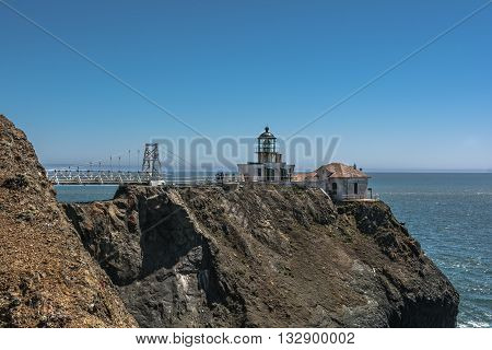 Point Bonita,California,USA - June 8, 2015 : Point Bonita Lighthouse and the bridge