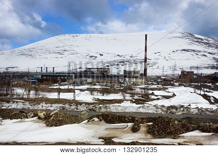 Industrial zone in the mountains in the polar regions of Russia
