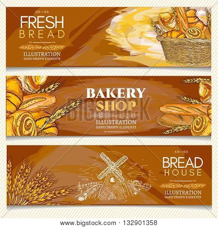 Bakery banner bakery shop bakery basket fresh bread rolls and loaves hand drawn vector illustration