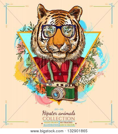 Portrait of fashion tiger hipster animals hand drawn vector illustration
