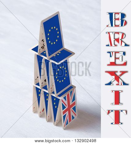 Collage On Event June 23 Brexit Uk Eu Referendum Concept: Will The House Of Cards Stand When United