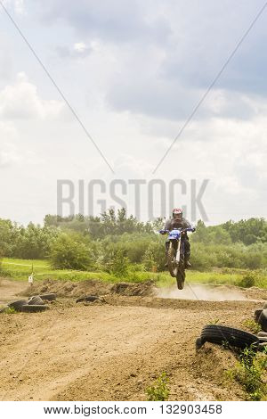 Jump Rider On Motocross.