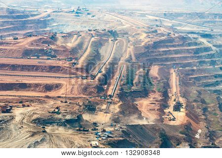 Mining Dump Trucks Working In Lignite Coalmine Lampang Thailand