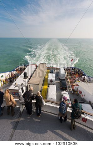 DUNKIRK FRANCE - OCTOBER 18 2015: Backside stern of a ferry boat with unknown passengers crossing the north sea channel from Dunkirk to Dover