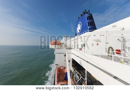 DUNKIRK FRANCE - OCTOBER 18 2015: Rescue boats on a DFDS Seaways ferry boat from Dunkirk to Dover