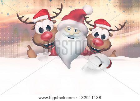 Christmas Santa Claus Reindeer graphic illustration modern image graphic