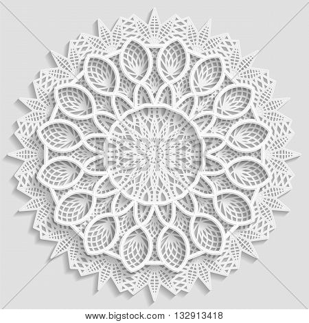 Lacy paper doily decorative flower decorative snowflake lacy mandala lace pattern arabic ornament indian ornament embossed pattern 3D vector