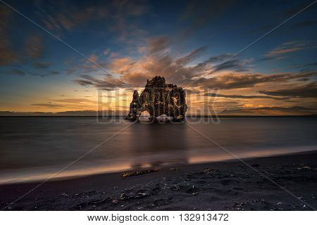 Hvitserkur rock and beach in sunset light Iceland