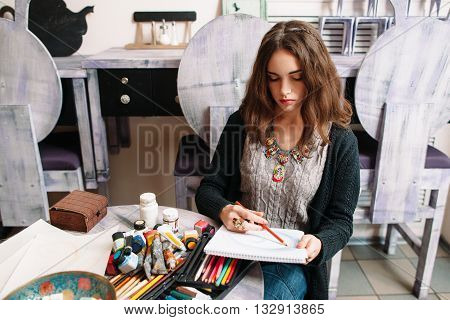 Drawing Girl Art Picture Hobby Talent Artist Concept