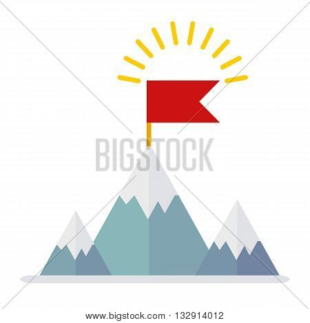 Win Flag On Mountain
