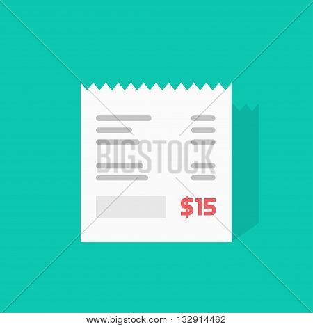 Receipt vector icon, invoice flat illustration, cheque shadow, bill with total cost amount and dollar symbol, abstract text, receipt paper isolated on green