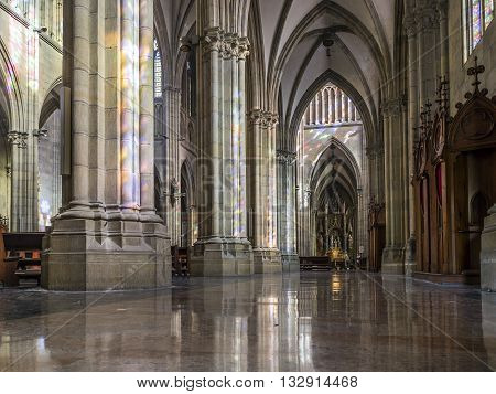 San Sebastian (Donostia) Spain - May 29 2016: Aisle of Cathedral of the Good Shepherd (Buen pastor) located in the city of San Sebastian Gipuzkoa Basque Country Spain.