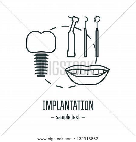 Dental logo. Implantation. Cosmetic dentistry. Modern linear concept. Flat design. Vector illustration poster