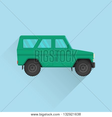 Car icon jeep. Army SUV of green color. The vehicle of the increased passability for travel active recreation hunting a safari and the hard purposes. A vector illustration in flat style.