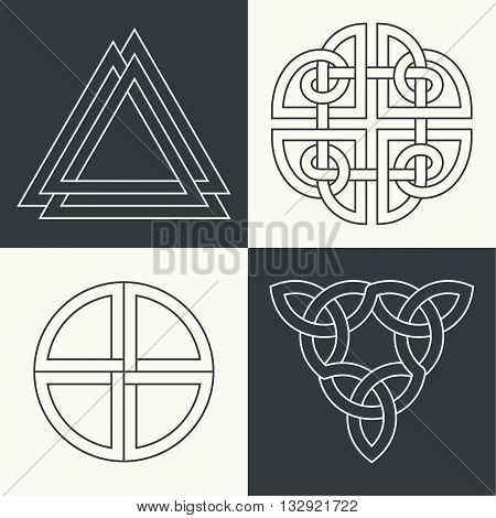 Set of the ancient symbols executed in linear style. Celtic signs knots and interlacings. Concept of secret and origin of mankind. The mascots and charms executed in the form of logos. Magic signs. Vector illustration.