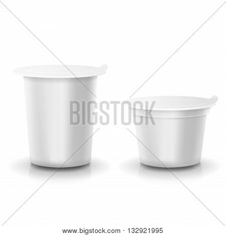 Realistic vector plastic container of yogurt or dessert Mock-up packages