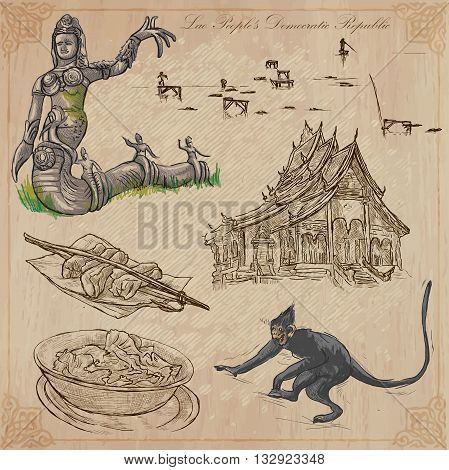 Travel collection.LAOS traveling set.Pictures of LifeLao People's Democratic Republic.Hand drawn colored vector pack freehand sketching.Illustrations are editable.All things are named inside the file