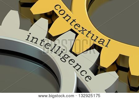 contextual intelligence concept on the gearwheels 3D rendering