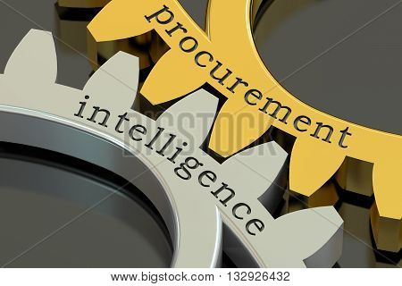 Procurement Intelligence concept on the gearwheels 3D rendering