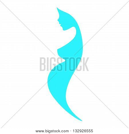 Beautiful nude pregnant woman silhouette abstract turquoise blue subtle colors elegant linear sketch symbol motherhood expectant mother prospective mother prenatal care