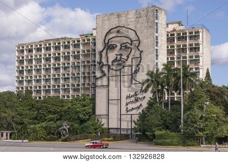 Havana, Cuba - january 19, 2016: Ministerial building with the image of Che Guevara in Revolution Square in Havana, Cuba