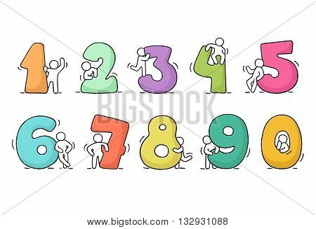 Cartoon icons set of sketch working little people with numbers. Doodle cute miniature scenes of workers with numbers. Hand drawn vector illustration for school design and infographic.
