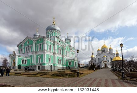 Diveevo, Russia - March 20, 2015: Trinity and the Transfiguration Cathedrals of Holy Trinity-Saint Seraphim-Diveyevo Monastery. Nizhny Novgorod Region. Russia