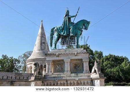 King Saint Stephen's statue in Fishermen's BastionBudapest Hungary