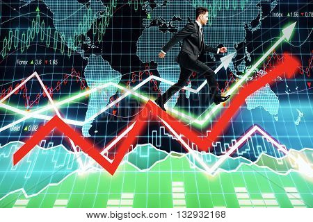 Fund manager walking on abstract arrows with forex chart and map in the background