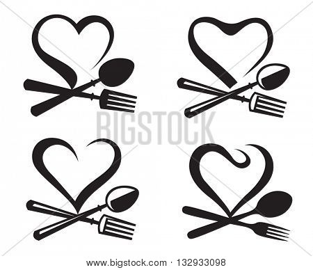 black illustration of icons collection with spoon, fork and heart