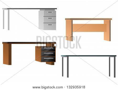 Set of desks for office equipment. Flat design. Vector illustration isolated on white