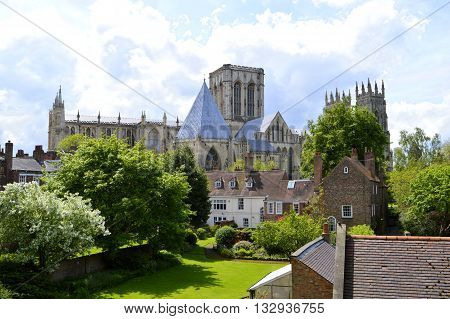 York Yorkshire England UK - May 22 2016 : The historical York Minster the cathedral of York the largest of its kind in Northern Europe
