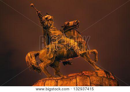 Bogdan Khmelnitsky Equestrian Statue Night Sofiyskaya Square Kiev Ukraine. Founder of Ukraine Cossack State in 1654. Statue created 1881 by Sculptor Mikhail Mykeshin