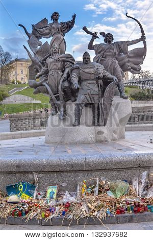 KIEV, UKRAINE - APRIL 18, 2015 Founders Monument Memorials to People Killed in Maidan Square Kiev Ukraine. Founders statue is to the famous people that founded Kiev.