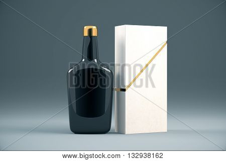 Black cognac bottle and packaging without lables. Mock up 3D Rendering