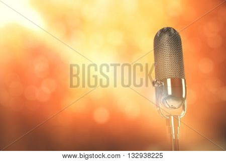 Microphone head on bright red and yellow background with limelight. 3D Rendering